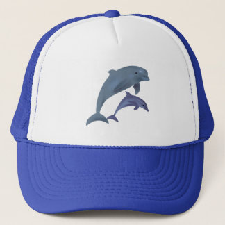 Jumping dolphins illustration trucker hat