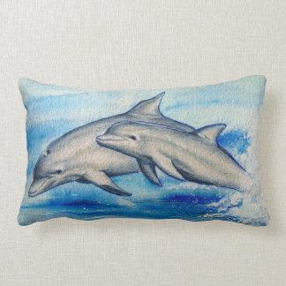 Jumping dolphins lumbar pillow