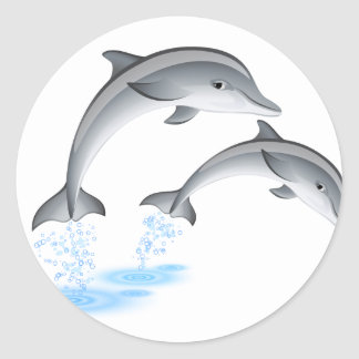 Jumping dolphins round sticker