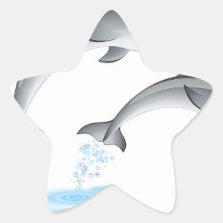 Jumping dolphins star sticker