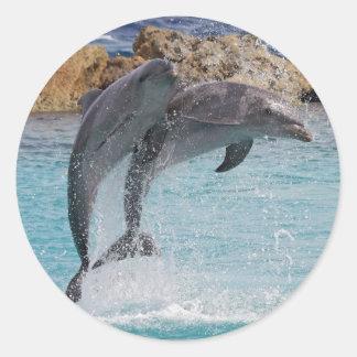 jumping dolphins round sticker