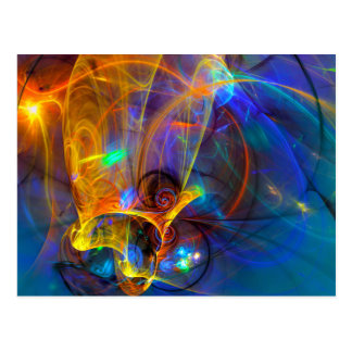 Jumping fish Sunset - colorful digital abstract ar Postcard