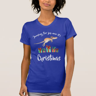 Jumping for joy Kangaroo Christmas t-shirt