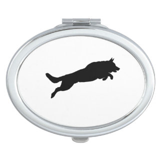 Jumping German Shepherd Silhouette Love Dogs Compact Mirror