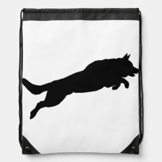 Jumping German Shepherd Silhouette Love Dogs Drawstring Bag
