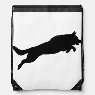 Jumping German Shepherd Silhouette Love Dogs Drawstring Bags