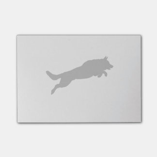 Jumping German Shepherd Silhouette Love Dogs Post-it Notes