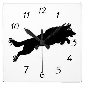 Jumping German Shepherd Silhouette Love Dogs Square Wall Clock