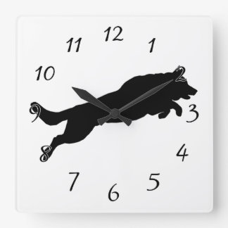 Jumping German Shepherd Silhouette Love Dogs Wall Clocks