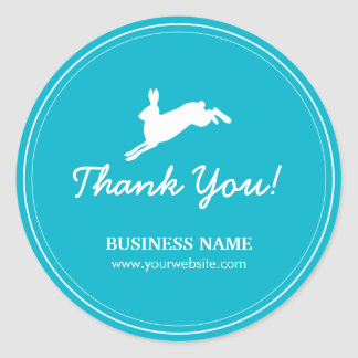 Jumping Hare Teal Blue Business Thank You Stickers