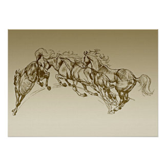 Jumping Horses Poster
