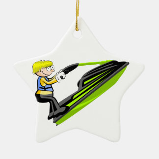 Jumping in jet ski ceramic star decoration