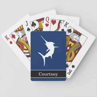 Jumping Marlin on Dark Blue With Custom Name Playing Cards