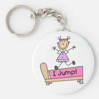 Jumping on the Bed Stick Figure Girl Key Chain