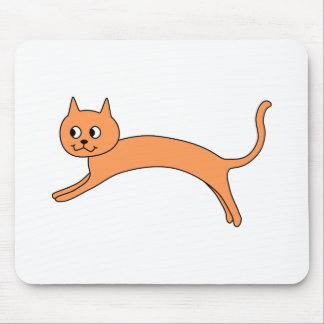 Jumping Orange Cat. Mouse Pad