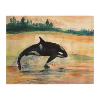 Jumping Orca Whale Wood Wall Art