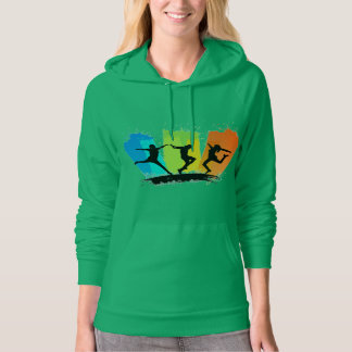 Jumping people silhouettes colorful - hooded pullovers