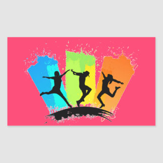 Jumping people silhouettes colorful - rectangular sticker
