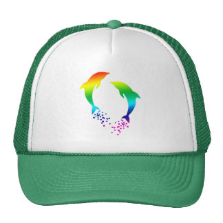 Jumping Rainbow Dolphins With Bubbles Cap
