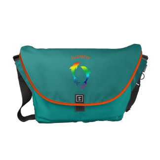 Jumping Rainbow Dolphins With Bubbles Commuter Bag
