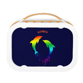 Jumping Rainbow Dolphins With Bubbles Lunch Box
