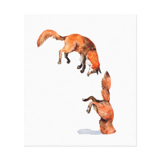 Jumping Red Fox Canvas Print