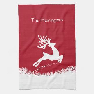 Jumping Reindeer custom name kitchen towel