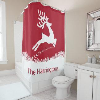 Jumping Reindeer custom name shower curtain