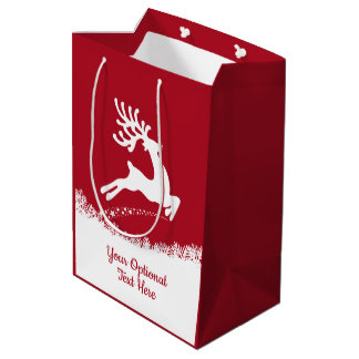 Jumping Reindeer custom text medium gift bag