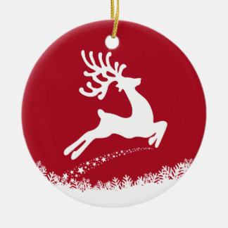 Jumping Reindeer custom text ornament