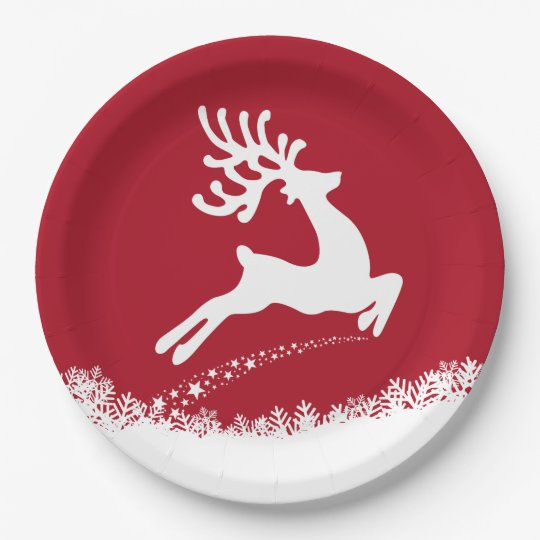 Jumping Reindeer paper plates