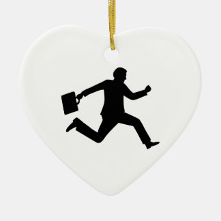 Jumping running business man christmas ornaments