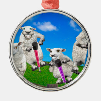 Jumping Sheep Silver-Colored Round Decoration