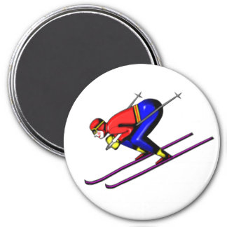 Jumping Snow Skier 7.5 Cm Round Magnet