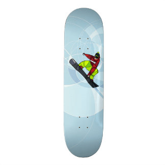 Jumping snowboarder  on blue background skateboard deck