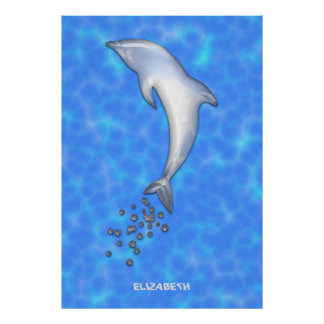 Jumping Sparkling Blue Dolphin With Bubbles Poster