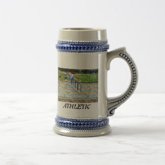 JUMPING THE OBSTACLES BEER STEIN