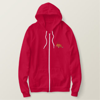 Jumping Tiger Embroidered Hoodie