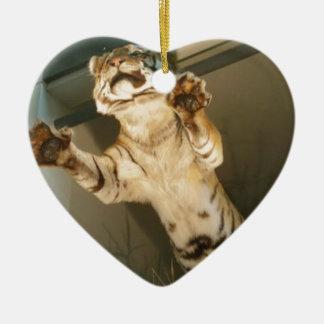 Jumping tiger - look at his paws! ceramic heart decoration
