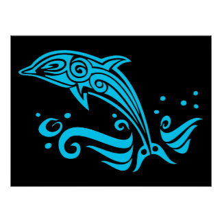 Jumping Tribal Blue Dolphin Poster