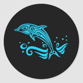 Jumping Tribal Blue Dolphin Round Stickers