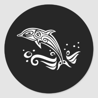 Jumping Tribal Dolphin Round Sticker