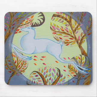 Jumping White Hart. Mouse Mat