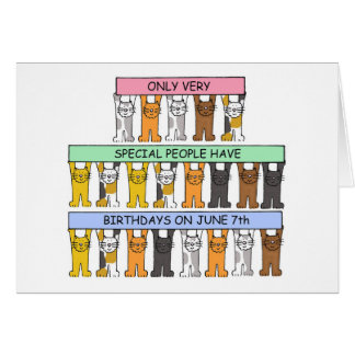 June 7th Birthday Cats Card