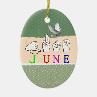 JUNE ASL NAME SIGN FINGERSPELLED CHRISTMAS ORNAMENT