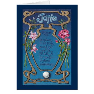June Birthday Pearl and Roses Card