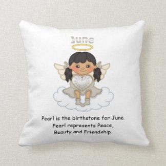 June Birthstone Angel Black Throw Cushion