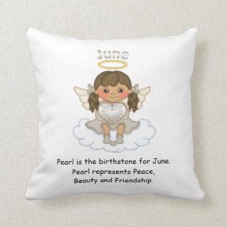 June Birthstone Angel Brunette Throw Cushions