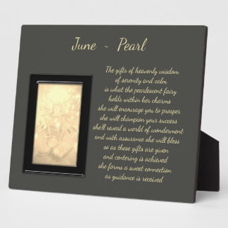 June Birthstone Pearl Display Plaque