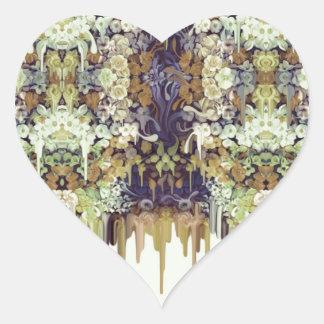 June Bug, melting floral pattern Heart Sticker
